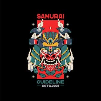 Illustrazioni di elmo da samurai con teschio