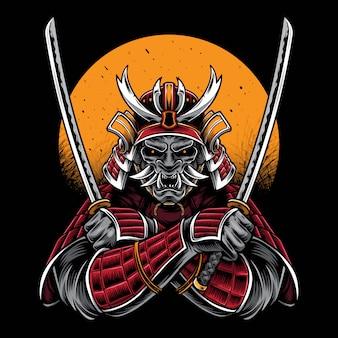 Samurai che tiene materiale illustrativo di vettore di katana