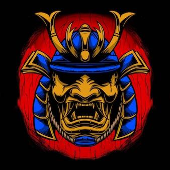 Disegno dell'illustrazione del samurai Vettore Premium