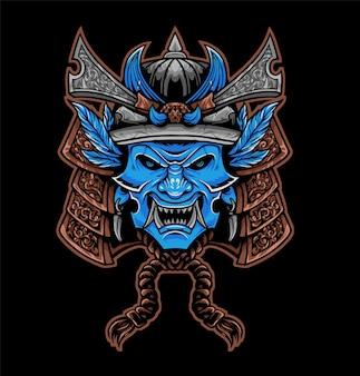 Samurai indiani blu faccia arrabbiata samurai illustrazione vettoriale