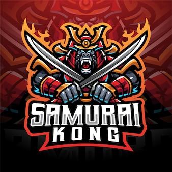 Logo della mascotte di samurai kong esport