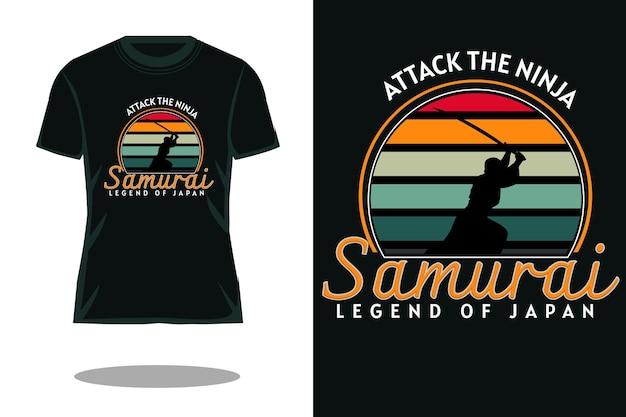 Samurai leggenda del giappone retrò il design della maglietta spettro