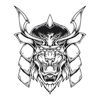 Samurai lion head line art illustrazione
