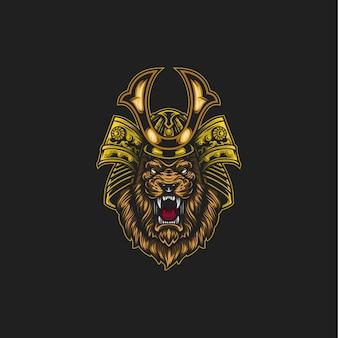 Illustrazione del leone samurai