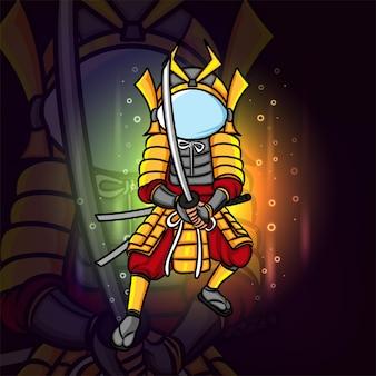 L'uomo samurai con il casco da astronauta esport logo design dell'illustrazione