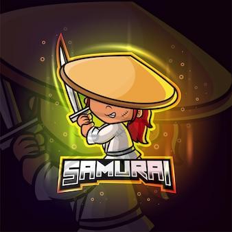 Mascotte samurai esport logo colorato