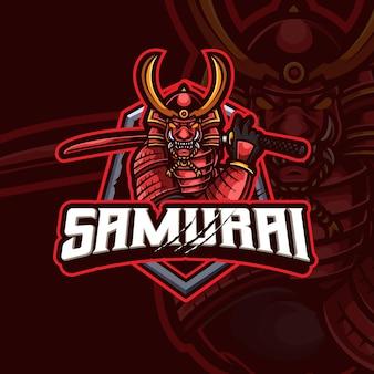 Design del logo del gioco esport della mascotte del samurai