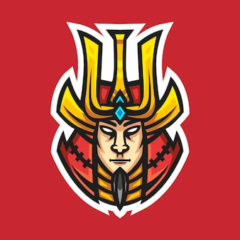 Samurai mascotte logo design illustrazione vettoriale