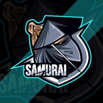 Design esport logo mascotte samurai