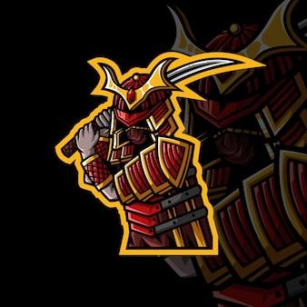 Logo mascotte samurai per giochi streamer twitch giochi esports youtube facebook Vettore Premium