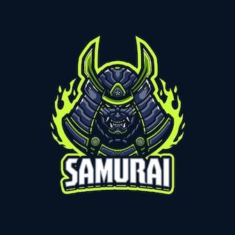 Modello di logo della mascotte del samurai