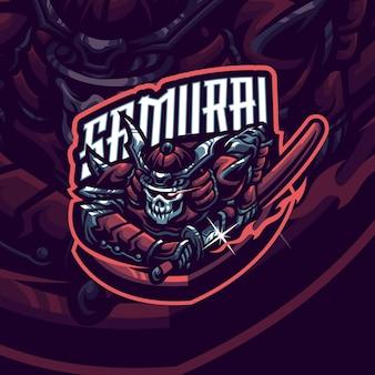 Modello logo mascotte samurai