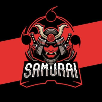 Design del logo esports maschera samurai. illustrazione della mascotte maschera samurai