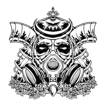 Illustrazione della maschera del samurai