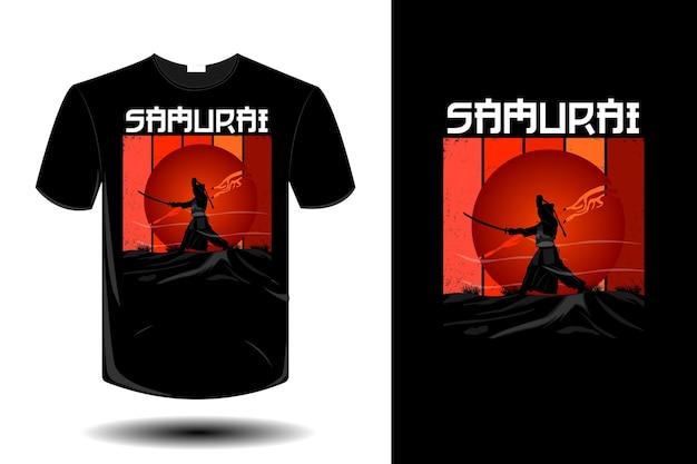 Samurai mockup design vintage retrò