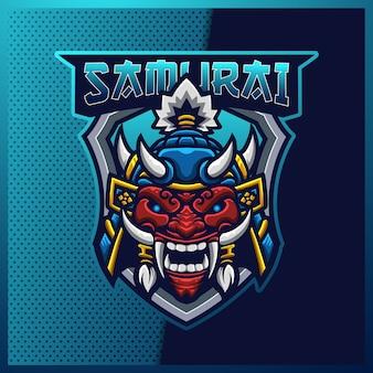 Samurai oni e design del logo della mascotte sportiva e sportiva
