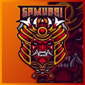 Samurai oni mascotte esport logo design illustrazioni template vettoriale, logo devil ninja mask per gioco di squadra streamer youtuber banner twitch discord