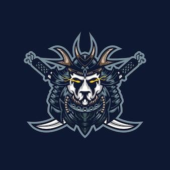 Modello di logo della mascotte di gioco di samurai panda esport per la squadra di streamer.