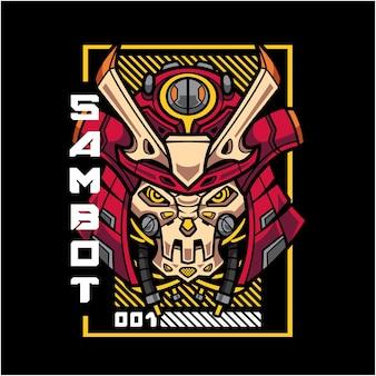Logo mascotte testa robot samurai