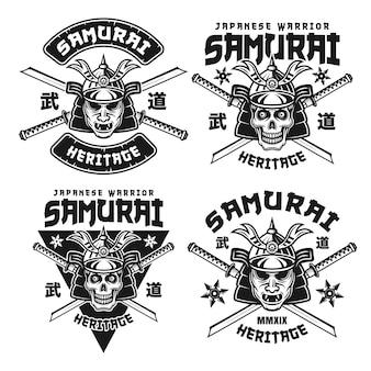 Samurai set di quattro emblemi monocromatici di vettore, distintivi, etichette, loghi o stampe t-shirt con geroglifici giapponesi (budo - arti marziali moderne) isolati su priorità bassa bianca