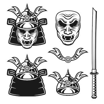 Samurai set di oggetti vettoriali monocromatici ed elementi di design isolati su sfondo bianco