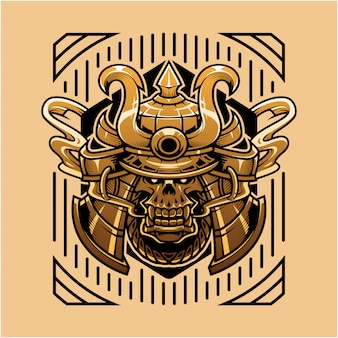 Illustrazione della testa del cranio del samurai