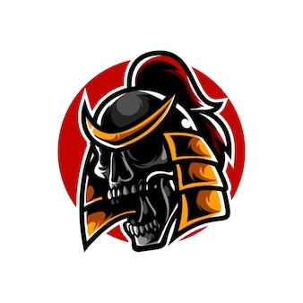 Logo della mascotte della testa del cranio del samurai