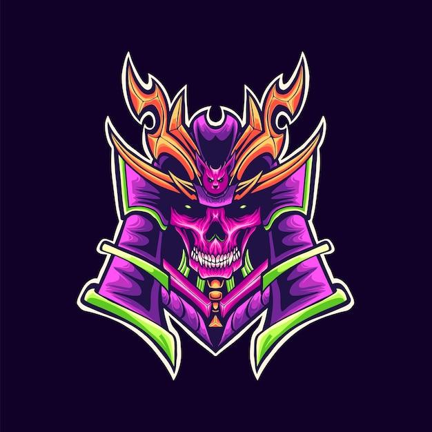 Illustrazione della mascotte di logo del cranio del samurai