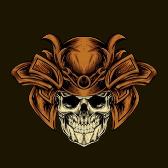 Cranio di samurai con illustrazione di testa corazzata