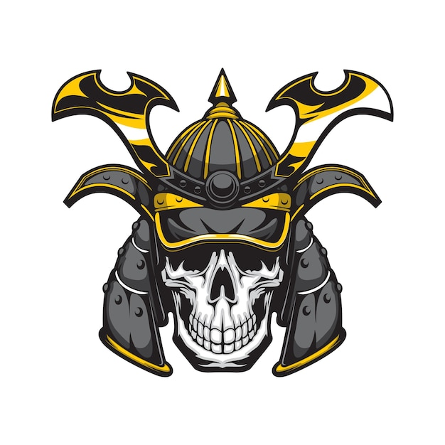 Cranio del samurai con mascotte del casco del guerriero giapponese