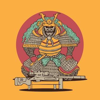 Cecchino samurai in stile illustrazione giapponese