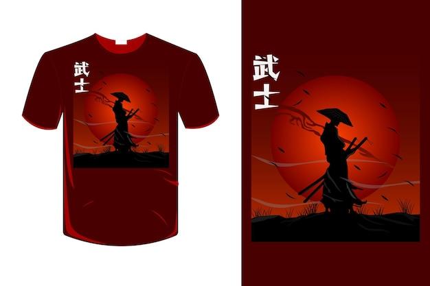 Disegno della maglietta samurai