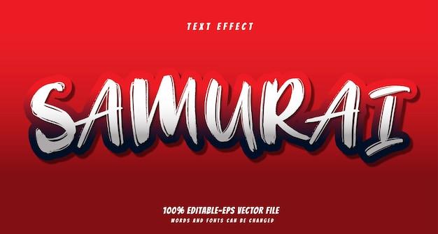 Samurai effetto testo disegno vettoriale