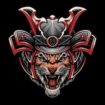 Disegno dell'illustrazione della testa della tigre del samurai