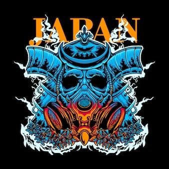 Disegno della maglietta dell'illustrazione di vettore della maschera tossica del samurai
