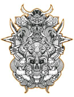 Samurai e il teschio vichingo incidono l'arte dell'illustrazione per l'abbigliamento della merce
