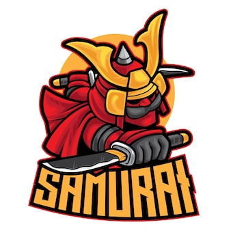 Samurai warrior esport logo isolato su bianco