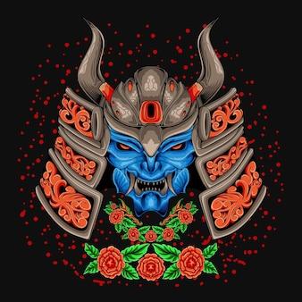 Testa di guerriero samurai con fiori