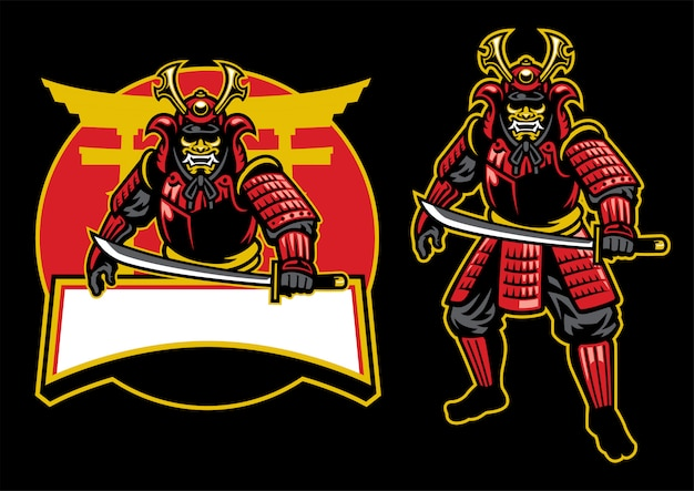 Set mascotte guerriero samurai