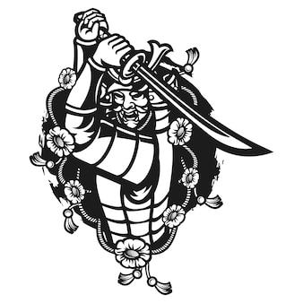 Illustrazione di maschera guerriero samurai Vettore Premium