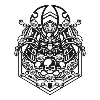 Illustrazione di maschera guerriero samurai