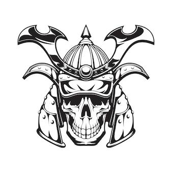 Tatuaggio o maschera del teschio del guerriero samurai