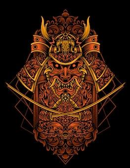 Guerriero samurai con stile ornamento vintage Vettore Premium