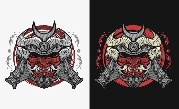 Samurai con disegno di illustrazione maschera hannya