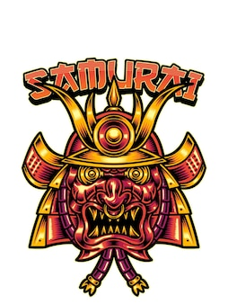 Samurai con un'illustrazione di maschera rossa