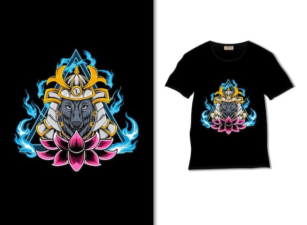 Illustrazione del lupo samurai con il design della maglietta