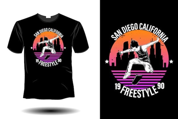 San diego california freestyle mockup design retrò vintage