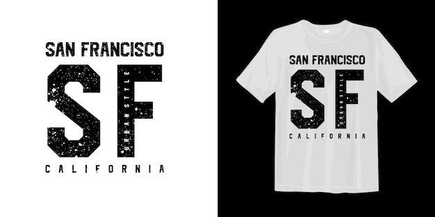 T-shirt grafica alla moda in stile urbano di san francisco in california