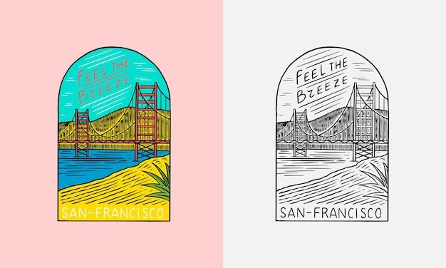 San francisco paesaggio emblema estate surf logo ponte rosso e cielo blu vintage emblema inciso a mano