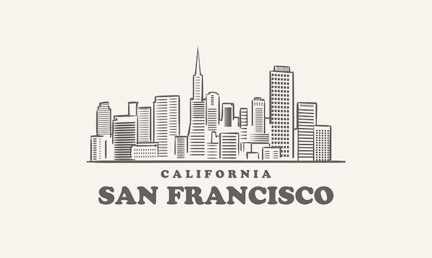 Skyline di san francisco, città di schizzo disegnato in california